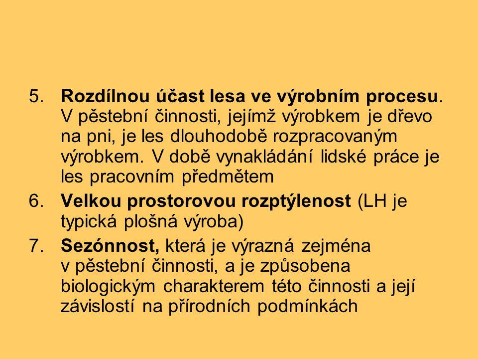 5.Rozdílnou účast lesa ve výrobním procesu.