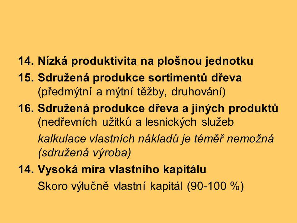 14.Nízká produktivita na plošnou jednotku 15.Sdružená produkce sortimentů dřeva (předmýtní a mýtní těžby, druhování) 16.Sdružená produkce dřeva a jiný