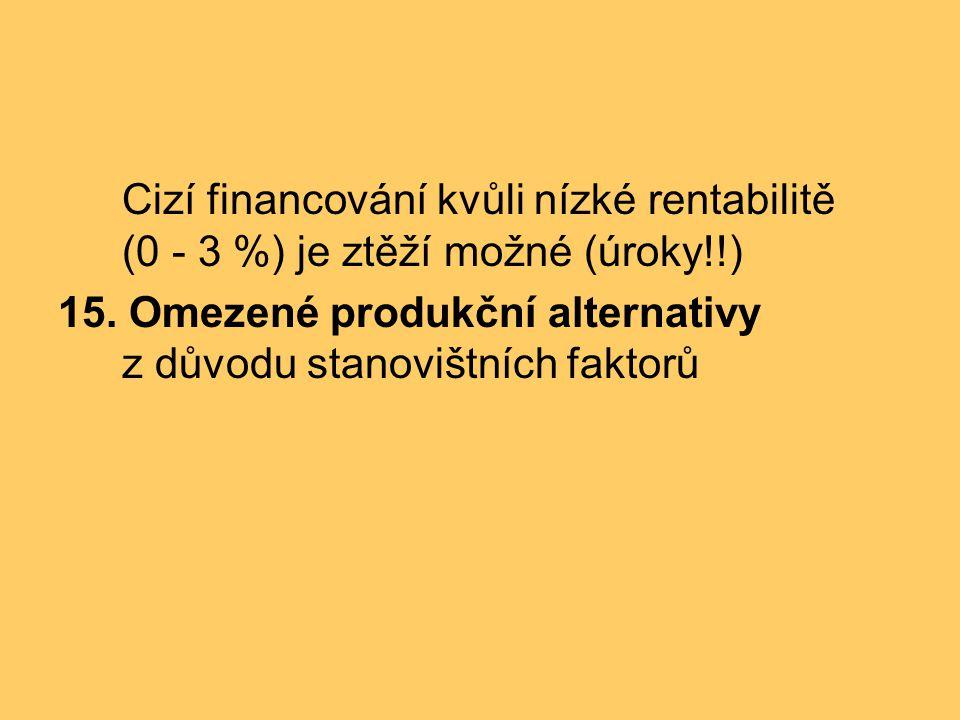 Cizí financování kvůli nízké rentabilitě (0 - 3 %) je ztěží možné (úroky!!) 15. Omezené produkční alternativy z důvodu stanovištních faktorů