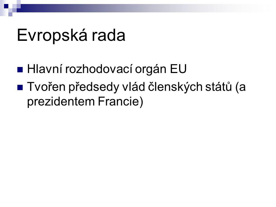 Evropská rada Hlavní rozhodovací orgán EU Tvořen předsedy vlád členských států (a prezidentem Francie)