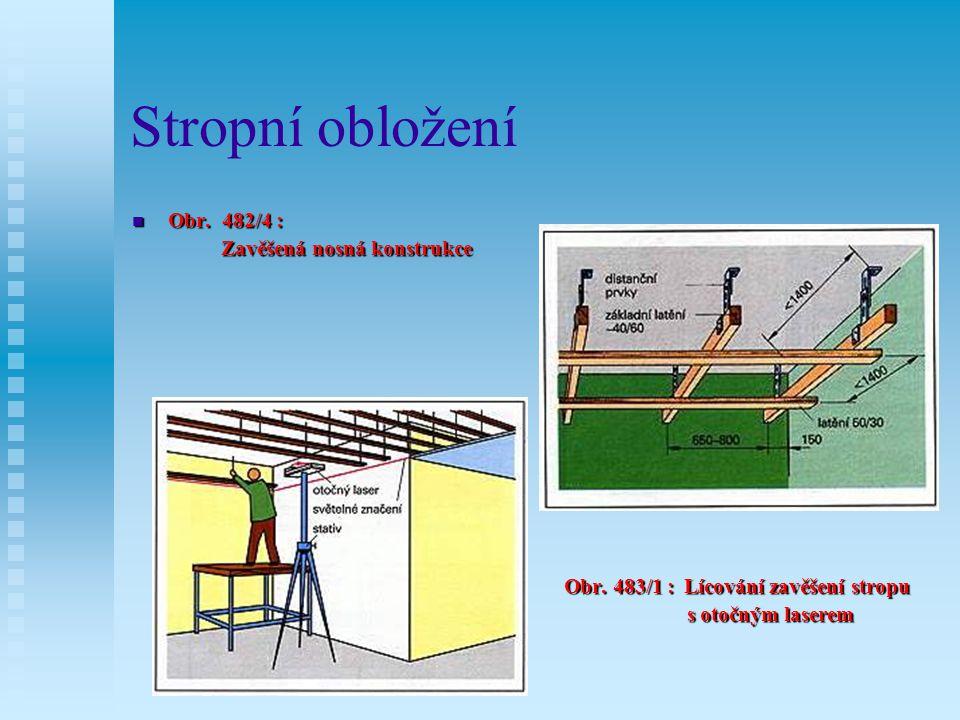 Stropní obložení Obr.482/2 : Jednoduchá konstrukce latění Obr..