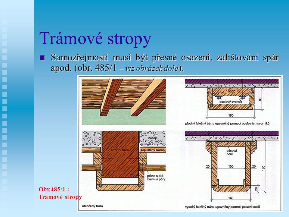 Trámové stropy Obr. 485/2 : Prknové stropy
