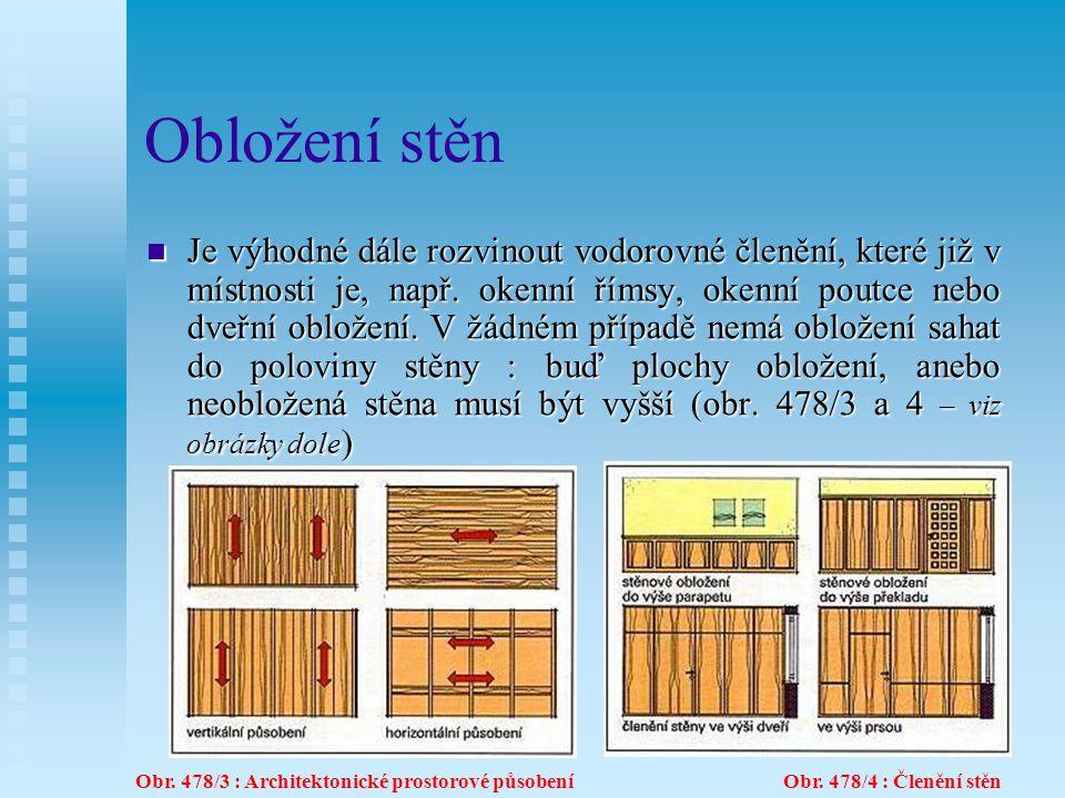 12.6Obložení stěn Podle způsobu konstrukce rozlišujeme obložení z prken, vlysů, rámové a deskové obložení (viz obr.