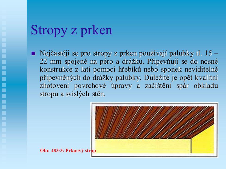 12.7.2Stropy z prken U stropů z prken je celá stropní plocha obložena prkny.