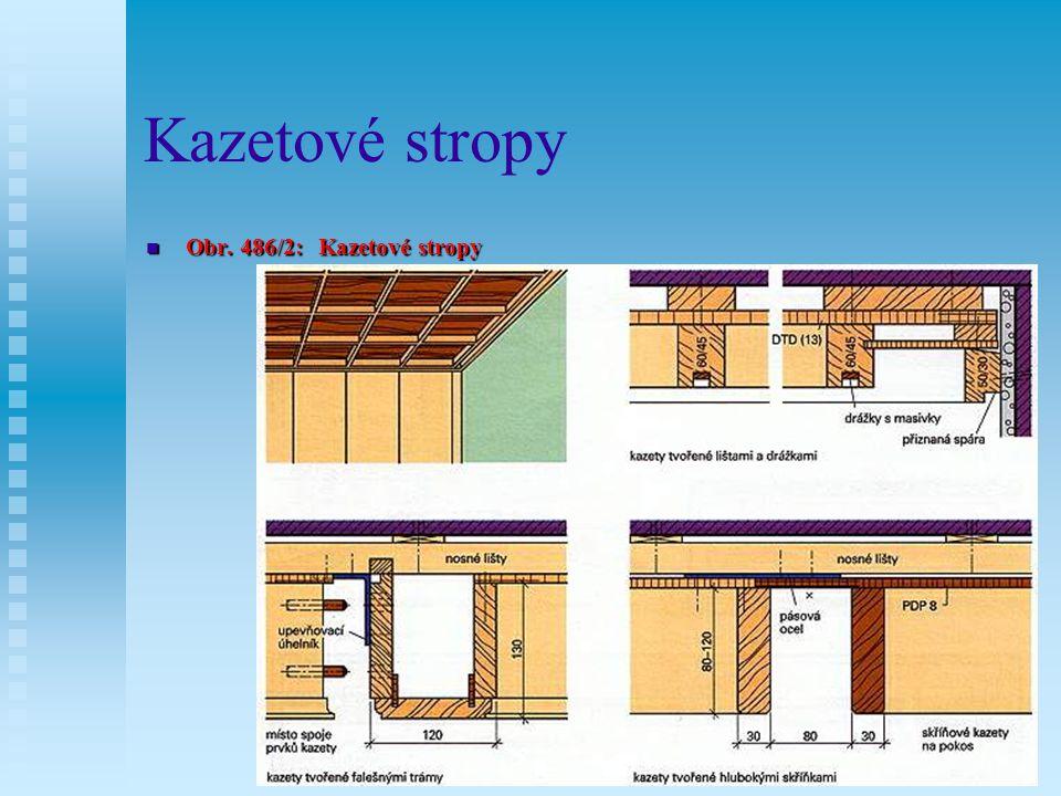 12.7.4Kazetové stropy Kazetové stropy jsou stropní obložení s čtvercovými nebo pravoúhlými poli (kazetami), plasticky uspořádanými.