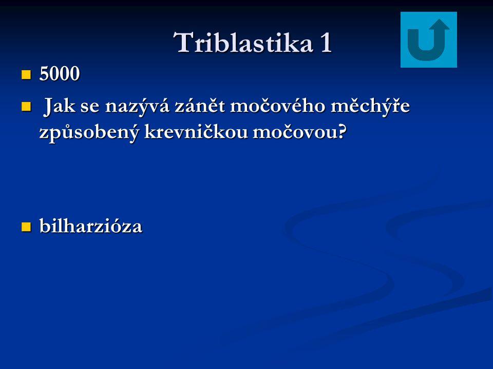 Triblastika 1 Triblastika 1 5000 5000 Jak se nazývá zánět močového měchýře způsobený krevničkou močovou? Jak se nazývá zánět močového měchýře způsoben