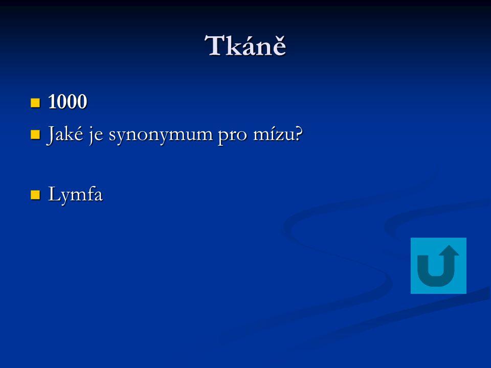 Tkáně 1000 1000 Jaké je synonymum pro mízu? Jaké je synonymum pro mízu? Lymfa Lymfa