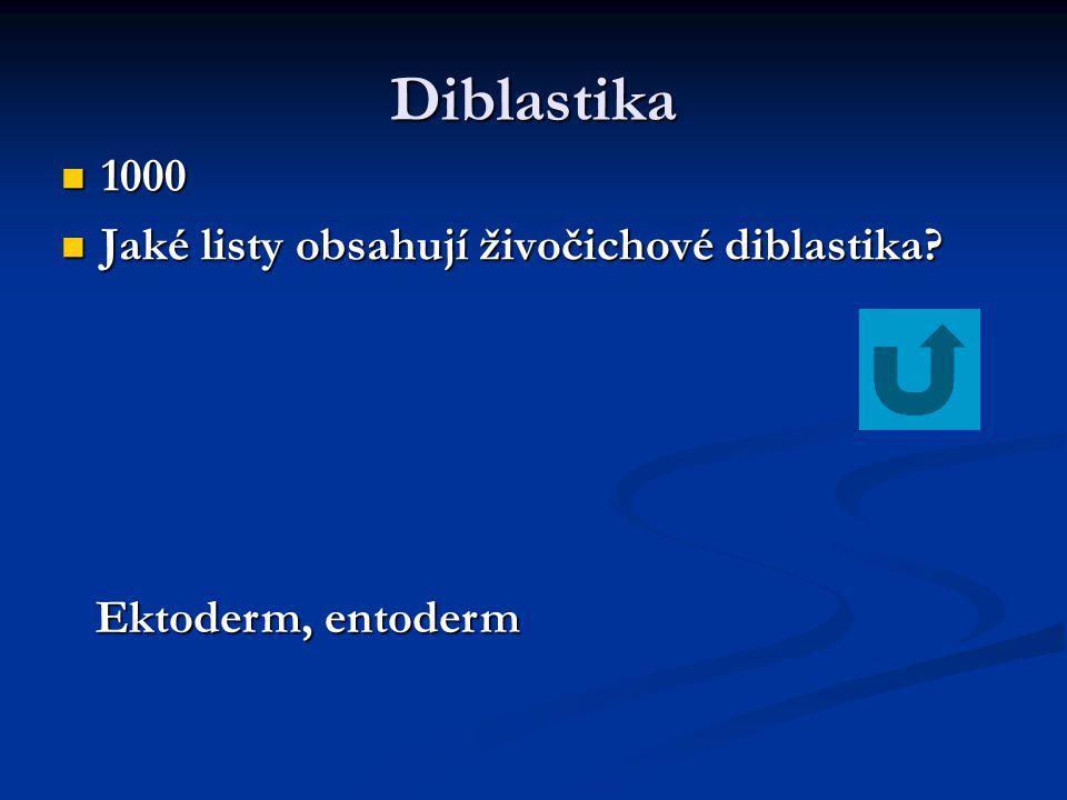 Diblastika 1000 1000 Jaké listy obsahují živočichové diblastika? Jaké listy obsahují živočichové diblastika? Ektoderm, entoderm