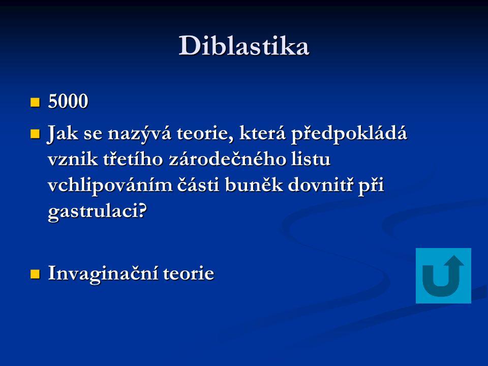 Diblastika 5000 5000 Jak se nazývá teorie, která předpokládá vznik třetího zárodečného listu vchlipováním části buněk dovnitř při gastrulaci? Jak se n