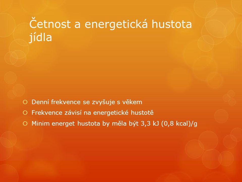 Četnost a energetická hustota jídla  Denní frekvence se zvyšuje s věkem  Frekvence závisí na energetické hustotě  Minim energet hustota by měla být 3,3 kJ (0,8 kcal)/g