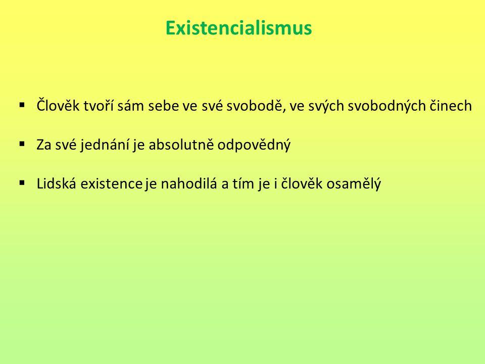 Existencialismus  Člověk tvoří sám sebe ve své svobodě, ve svých svobodných činech  Za své jednání je absolutně odpovědný  Lidská existence je naho