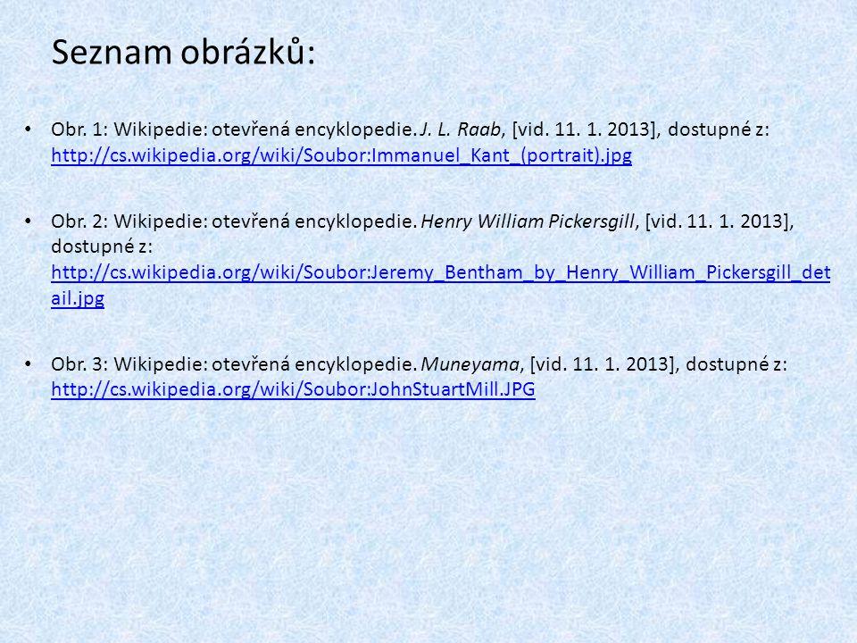 Seznam obrázků: Obr. 1: Wikipedie: otevřená encyklopedie. J. L. Raab, [vid. 11. 1. 2013], dostupné z: http://cs.wikipedia.org/wiki/Soubor:Immanuel_Kan