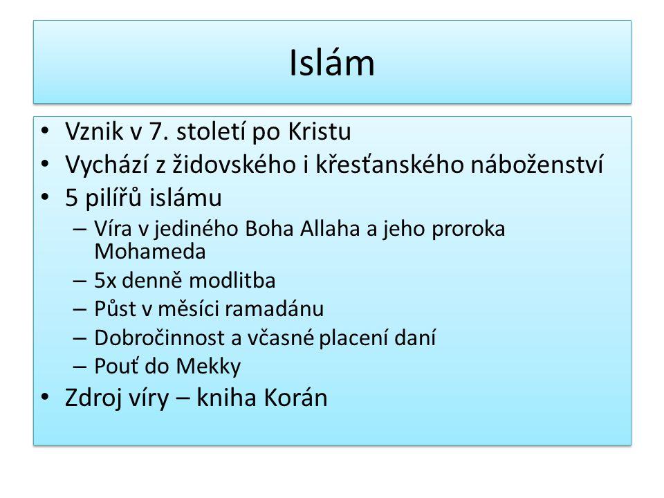 Islám Vznik v 7. století po Kristu Vychází z židovského i křesťanského náboženství 5 pilířů islámu – Víra v jediného Boha Allaha a jeho proroka Mohame