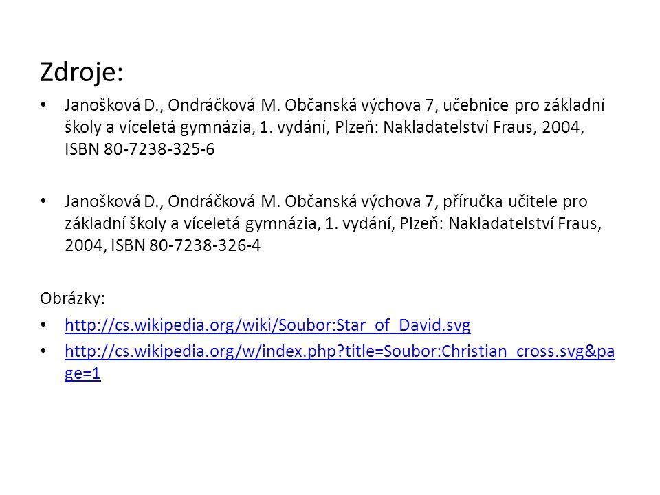 Zdroje: Janošková D., Ondráčková M. Občanská výchova 7, učebnice pro základní školy a víceletá gymnázia, 1. vydání, Plzeň: Nakladatelství Fraus, 2004,