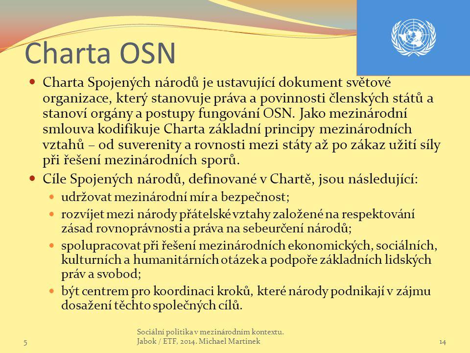 Charta OSN Charta Spojených národů je ustavující dokument světové organizace, který stanovuje práva a povinnosti členských států a stanoví orgány a postupy fungování OSN.