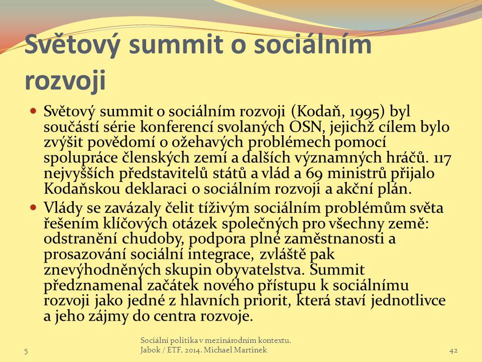 Světový summit o sociálním rozvoji Světový summit o sociálním rozvoji (Kodaň, 1995) byl součástí série konferencí svolaných OSN, jejichž cílem bylo zvýšit povědomí o ožehavých problémech pomocí spolupráce členských zemí a dalších významných hráčů.
