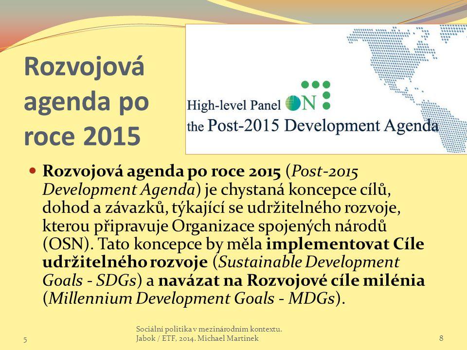 Rozvojová agenda po roce 2015 Rozvojová agenda po roce 2015 (Post-2015 Development Agenda) je chystaná koncepce cílů, dohod a závazků, týkající se udržitelného rozvoje, kterou připravuje Organizace spojených národů (OSN).