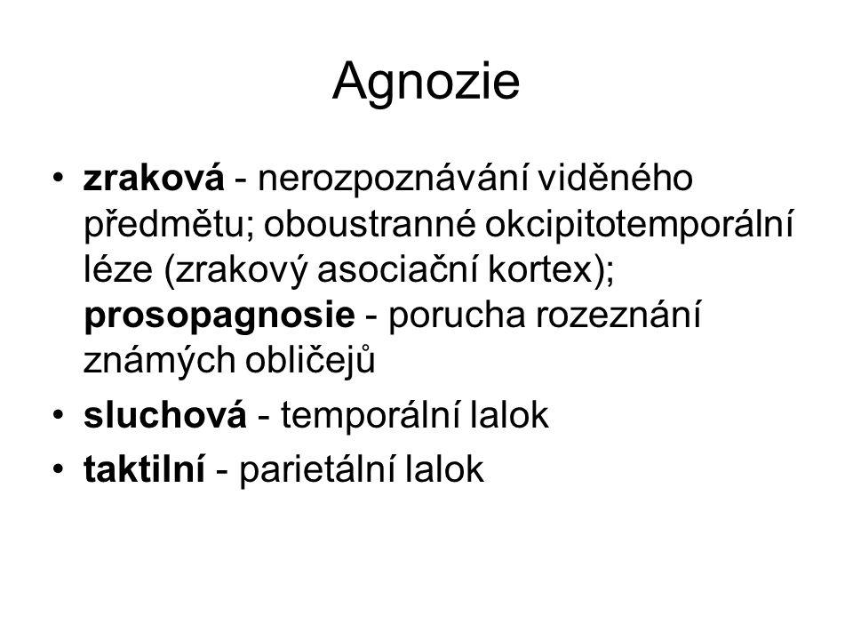 Agnozie zraková - nerozpoznávání viděného předmětu; oboustranné okcipitotemporální léze (zrakový asociační kortex); prosopagnosie - porucha rozeznání