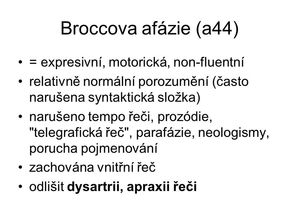 Broccova afázie (a44) = expresivní, motorická, non-fluentní relativně normální porozumění (často narušena syntaktická složka) narušeno tempo řeči, pro