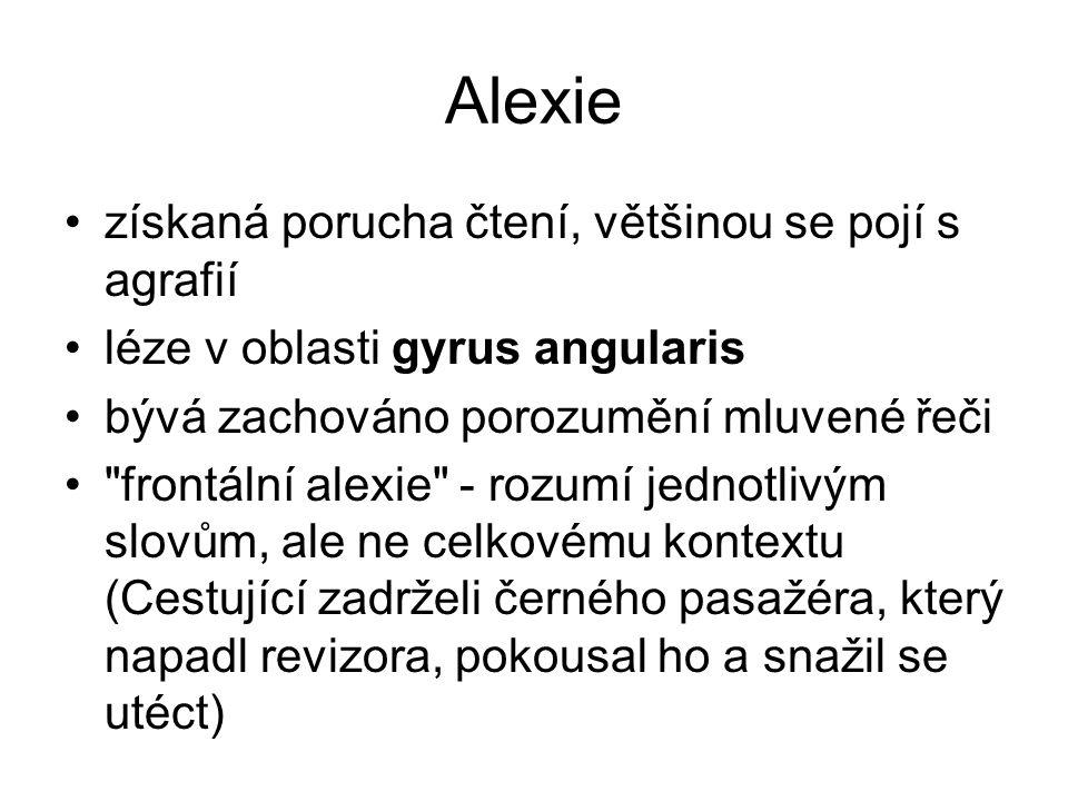 Alexie získaná porucha čtení, většinou se pojí s agrafií léze v oblasti gyrus angularis bývá zachováno porozumění mluvené řeči