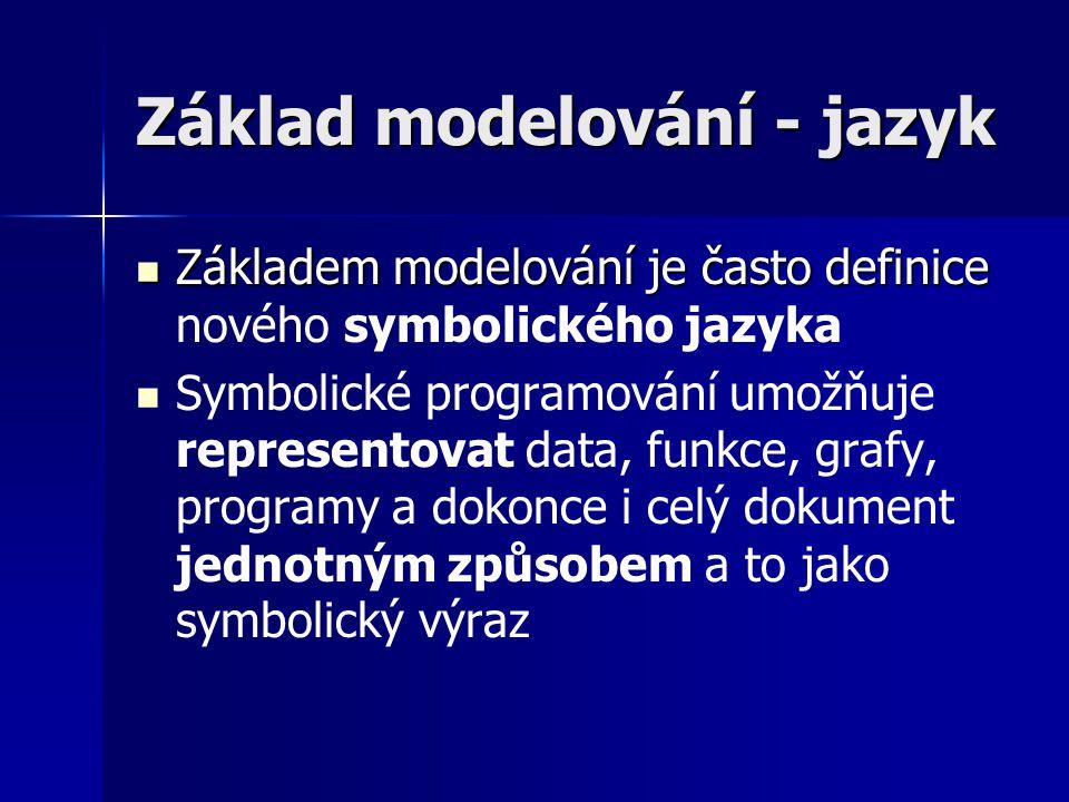 Základ modelování - jazyk Základem modelování je často definice Základem modelování je často definice nového symbolického jazyka Symbolické programování umožňuje representovat data, funkce, grafy, programy a dokonce i celý dokument jednotným způsobem a to jako symbolický výraz