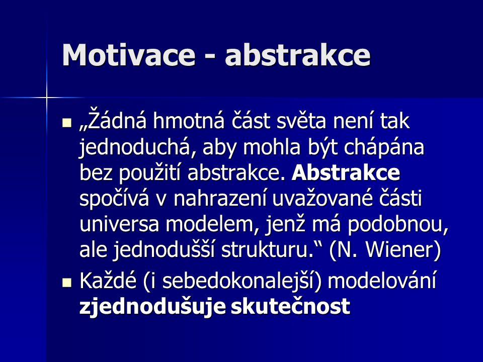 """Motivace - abstrakce """"Žádná hmotná část světa není tak jednoduchá, aby mohla být chápána bez použití abstrakce. Abstrakce spočívá v nahrazení uvažovan"""