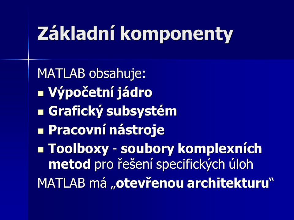 """Základní komponenty MATLAB obsahuje: Výpočetní jádro Výpočetní jádro Grafický subsystém Grafický subsystém Pracovní nástroje Pracovní nástroje Toolboxy - soubory komplexních metod pro řešení specifických úloh Toolboxy - soubory komplexních metod pro řešení specifických úloh MATLAB má """"otevřenou architekturu"""