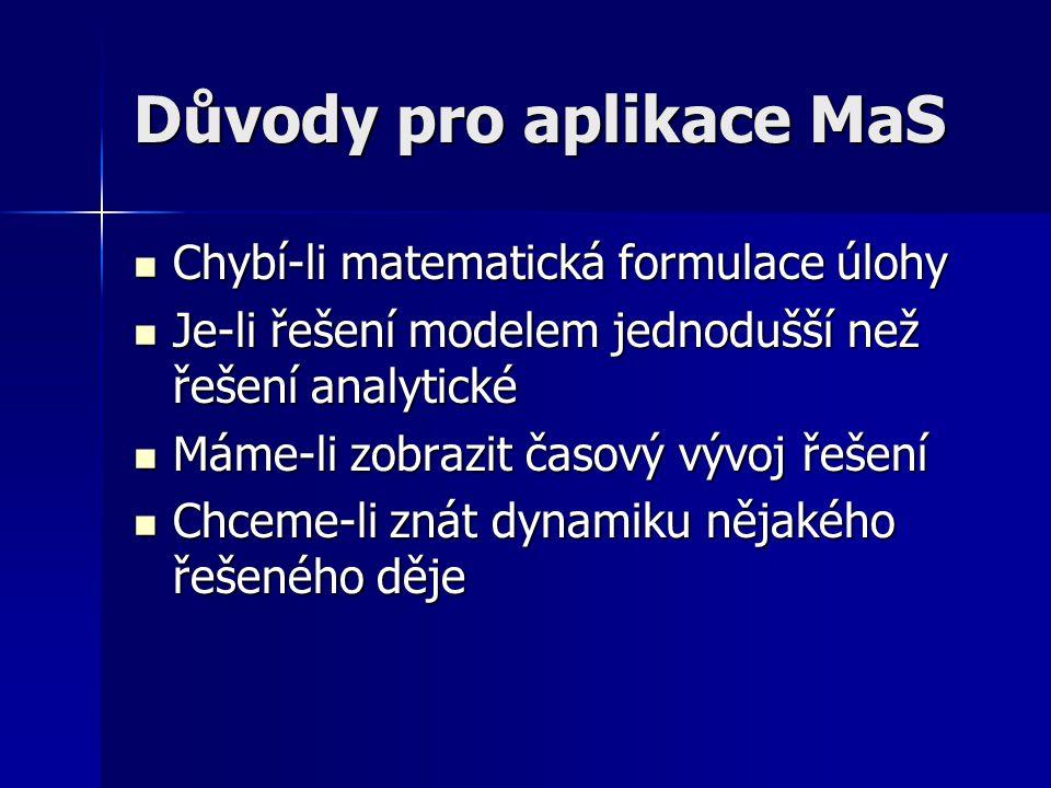 Důvody pro aplikace MaS Chybí-li matematická formulace úlohy Chybí-li matematická formulace úlohy Je-li řešení modelem jednodušší než řešení analytick