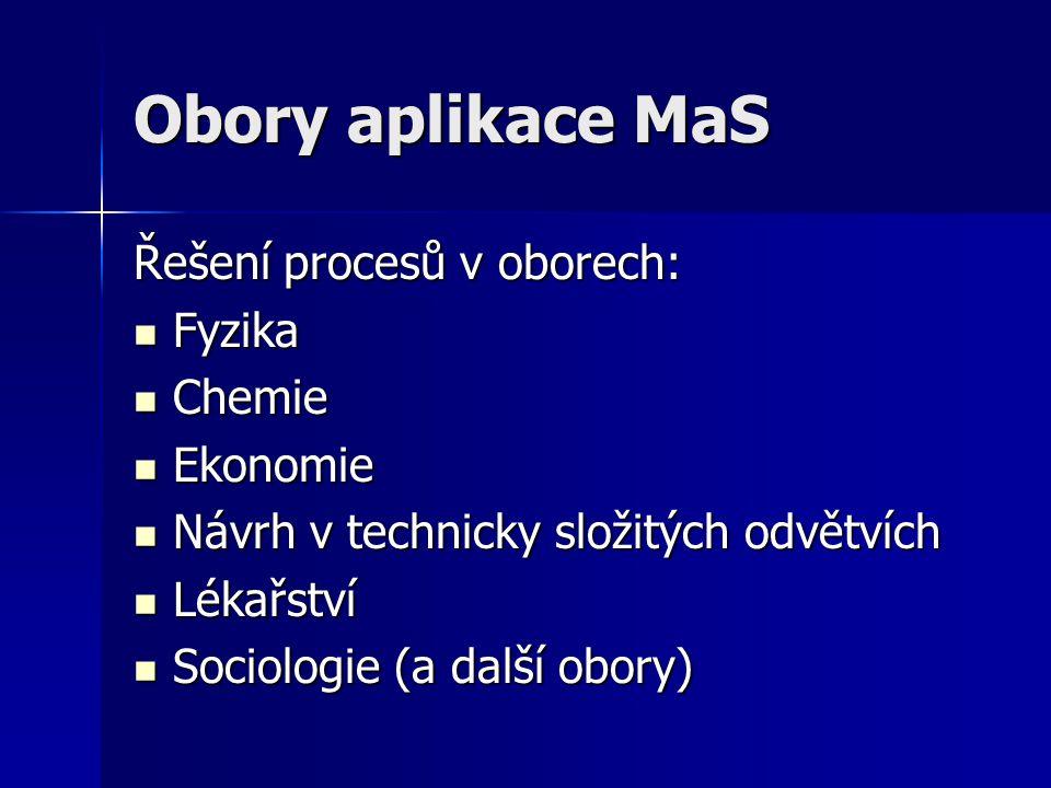 Obory aplikace MaS Řešení procesů v oborech: Fyzika Fyzika Chemie Chemie Ekonomie Ekonomie Návrh v technicky složitých odvětvích Návrh v technicky složitých odvětvích Lékařství Lékařství Sociologie (a další obory) Sociologie (a další obory)