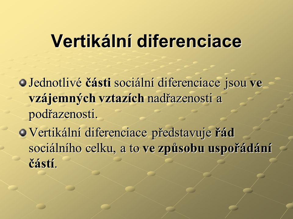 Vertikální diferenciace Jednotlivé části sociální diferenciace jsou ve vzájemných vztazích nadřazenosti a podřazenosti. Vertikální diferenciace předst
