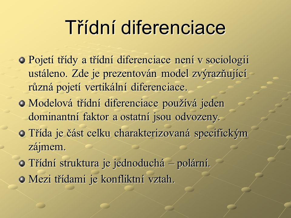 Třídní diferenciace Pojetí třídy a třídní diferenciace není v sociologii ustáleno. Zde je prezentován model zvýrazňující různá pojetí vertikální difer
