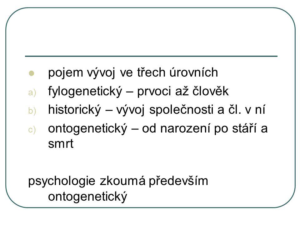 pojem vývoj ve třech úrovních a) fylogenetický – prvoci až člověk b) historický – vývoj společnosti a čl. v ní c) ontogenetický – od narození po stáří