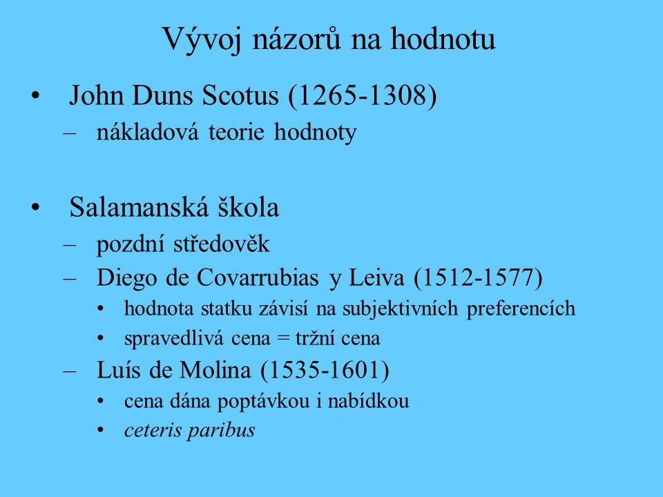 Vývoj názorů na hodnotu John Duns Scotus (1265-1308) –nákladová teorie hodnoty Salamanská škola –pozdní středověk –Diego de Covarrubias y Leiva (1512-
