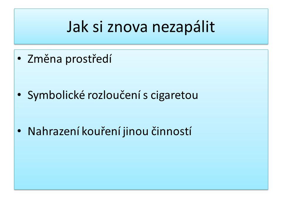 Jak si znova nezapálit Změna prostředí Symbolické rozloučení s cigaretou Nahrazení kouření jinou činností Změna prostředí Symbolické rozloučení s ciga