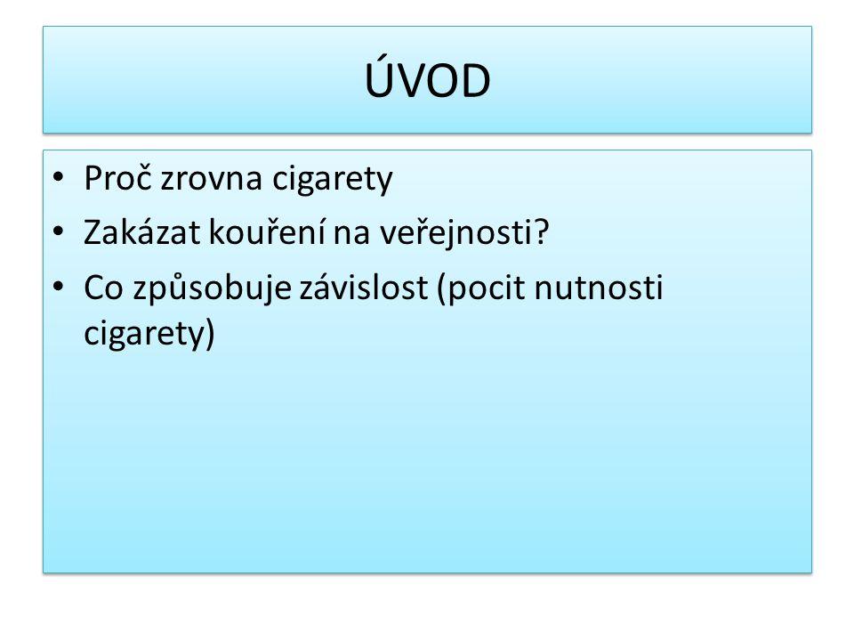 ÚVOD Proč zrovna cigarety Zakázat kouření na veřejnosti? Co způsobuje závislost (pocit nutnosti cigarety) Proč zrovna cigarety Zakázat kouření na veře