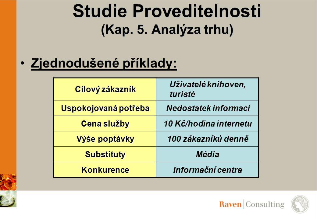 Studie Proveditelnosti (Kap. 5. Analýza trhu) Zjednodušené příklady: Cílový zákazník Uživatelé knihoven, turisté Uspokojovaná potřeba Nedostatek infor