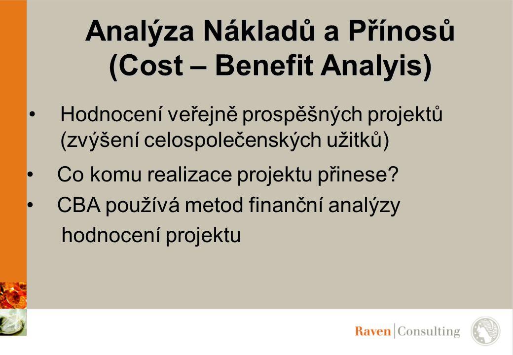 Analýza Nákladů a Přínosů (Cost – Benefit Analyis) Hodnocení veřejně prospěšných projektů (zvýšení celospolečenských užitků) Co komu realizace projekt