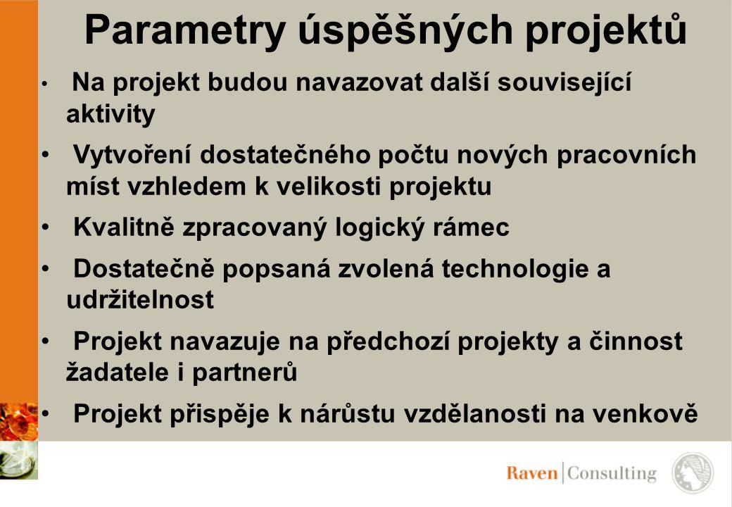 Parametry úspěšných projektů Na projekt budou navazovat další související aktivity Vytvoření dostatečného počtu nových pracovních míst vzhledem k veli