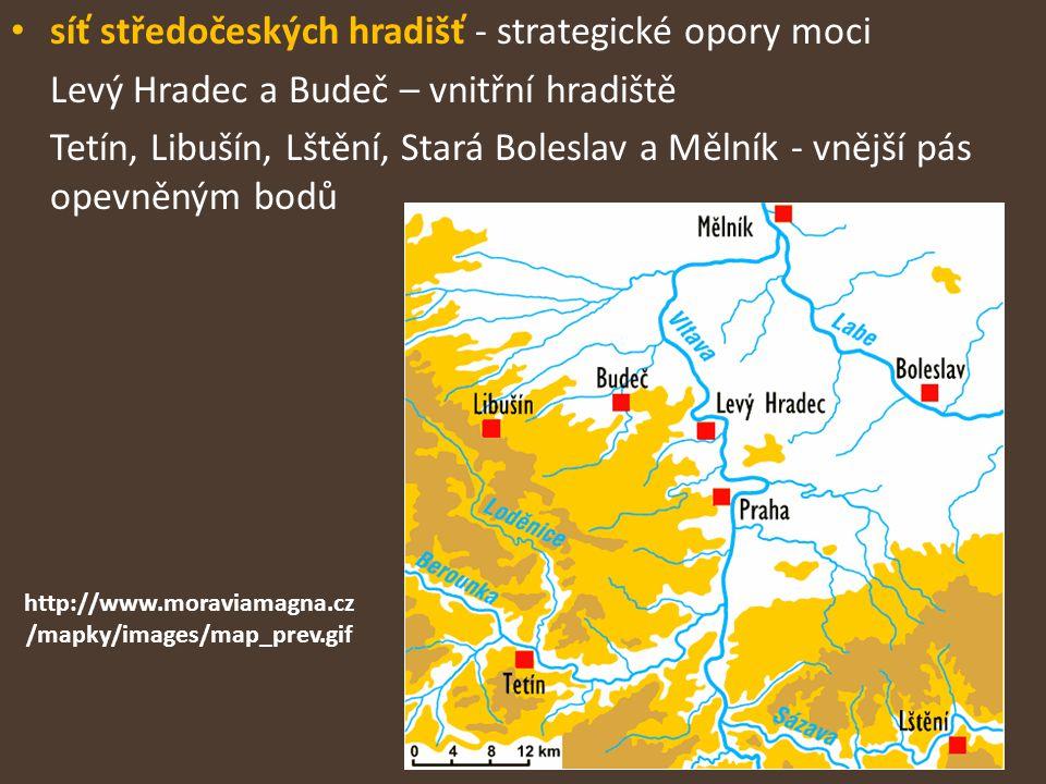 síť středočeských hradišť - strategické opory moci Levý Hradec a Budeč – vnitřní hradiště Tetín, Libušín, Lštění, Stará Boleslav a Mělník - vnější pás