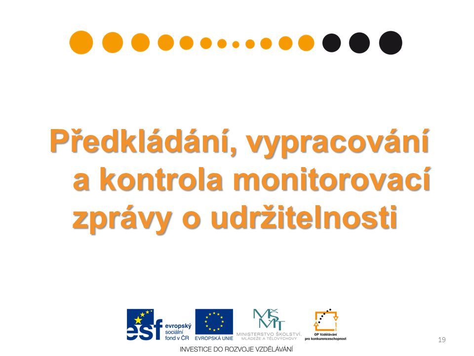 Předkládání, vypracování a kontrola monitorovací zprávy o udržitelnosti 19
