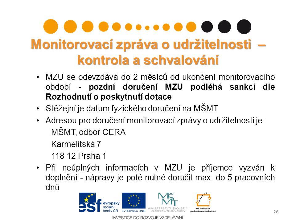 Monitorovací zpráva o udržitelnosti – kontrola a schvalování MZU se odevzdává do 2 měsíců od ukončení monitorovacího období - pozdní doručení MZU podl