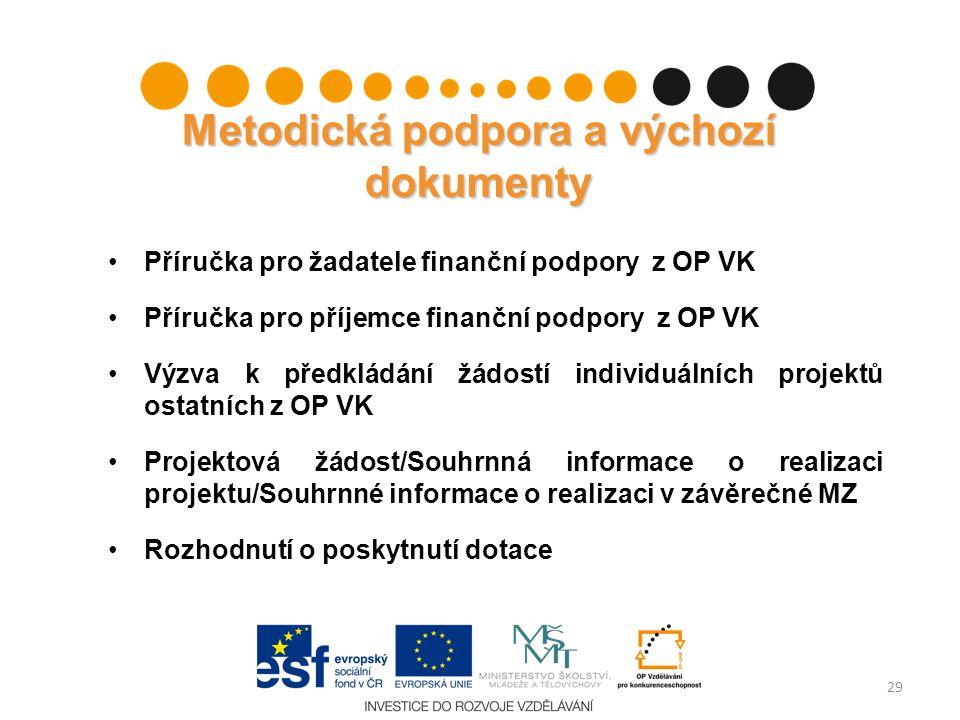 Metodická podpora a výchozí dokumenty Příručka pro žadatele finanční podpory z OP VK Příručka pro příjemce finanční podpory z OP VK Výzva k předkládán