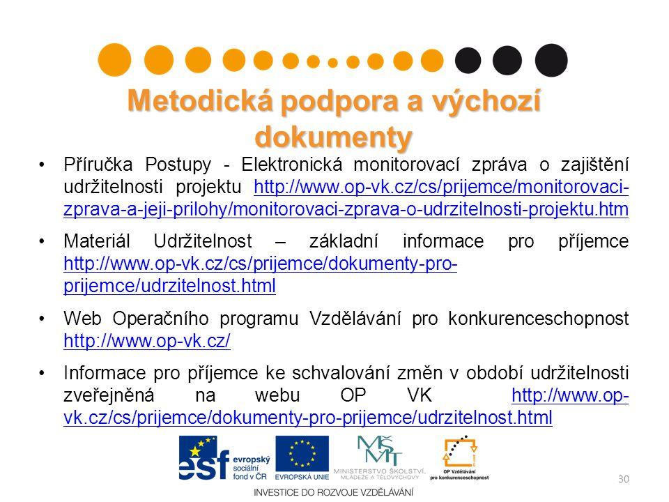 Metodická podpora a výchozí dokumenty Příručka Postupy - Elektronická monitorovací zpráva o zajištění udržitelnosti projektu http://www.op-vk.cz/cs/pr