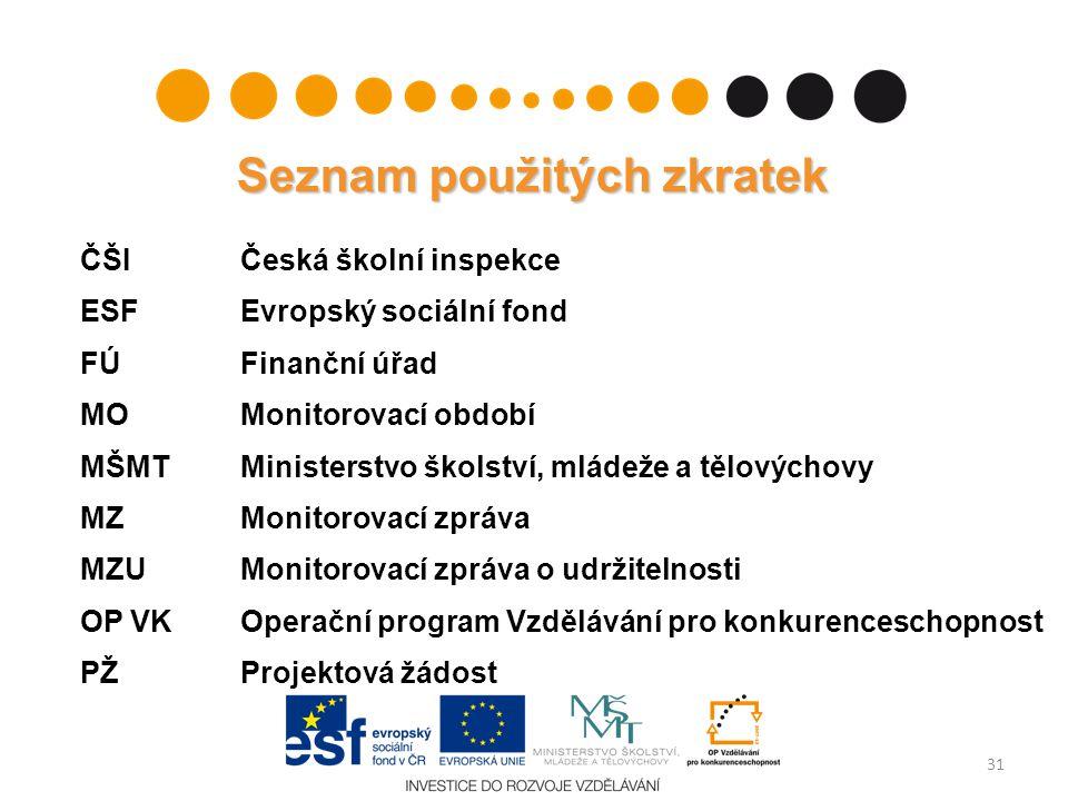 Seznam použitých zkratek ČŠIČeská školní inspekce ESFEvropský sociální fond FÚFinanční úřad MO Monitorovací období MŠMTMinisterstvo školství, mládeže
