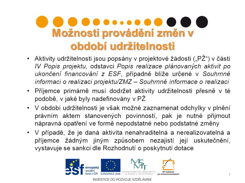 """Nepodstatné změny - udržitelnost Změny formálního charakteru Není nutné předchozí schválení poskytovatelem dotace Povinnost takovéto změny oznámit v nejbližší monitorovací zprávě o udržitelnosti (""""MZU ) Součástí informace o provedené změně musí být řádné zdůvodnění, proč ke změně došlo Příklady: –změna kontaktních údajů/sídla příjemce, změna statutárního zástupce –nahrazení majetku, který měl příjemce povinnost určitou dobu udržet, v případě škod –některé aktivity popsané v PŽ mohou být nahrazeny aktivitami obdobnými nebo inovovanými (realizace semináře x workshopu, vydání brožury x knihy apod.) 8"""
