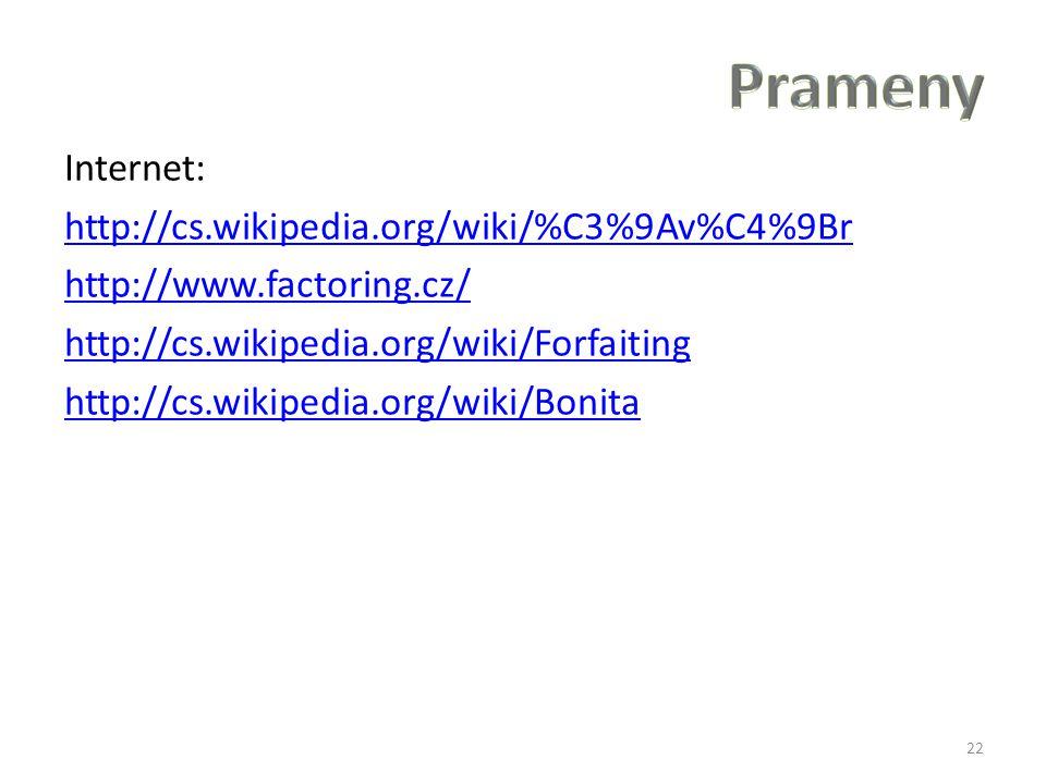 Internet: http://cs.wikipedia.org/wiki/%C3%9Av%C4%9Br http://www.factoring.cz/ http://cs.wikipedia.org/wiki/Forfaiting http://cs.wikipedia.org/wiki/Bonita 22
