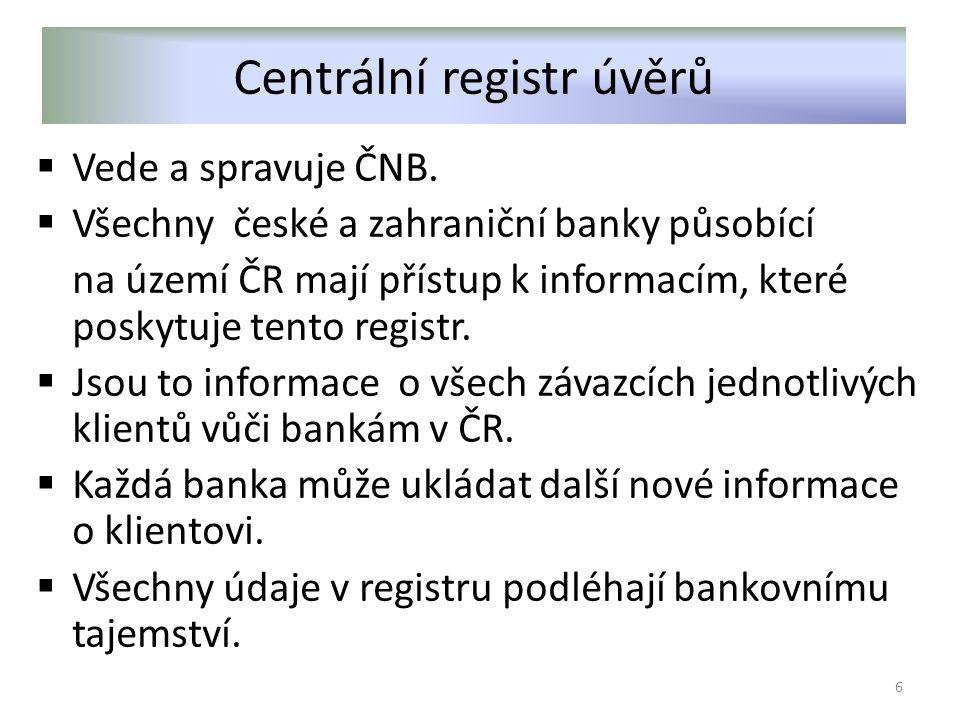 Centrální registr úvěrů  Vede a spravuje ČNB.