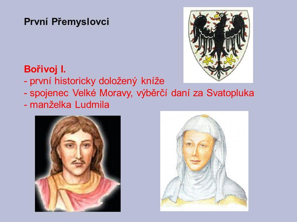 Arcibiskup Metoděj křtí knížete Bořivoje a kněžnu Ludmilu Pokřtění Bořivoje od arcibiskupa Metoděje; Velislavova bible (po roce 1340)