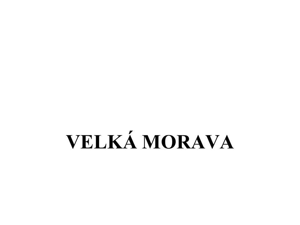 opevněná hradiště – sídla kmenových knížat centralizovaný stát první kníže – Mojmír – rod Mojmírovců 833 připojil nitranské knížectví k Velkomoravské říši Rastislav přijal křesťanství roku 863 přišli na VM dva věrozvěsti Konstantin a Metoděj slovanský jazyk – staroslověnština nové písmo - hlaholice Metoděj se stal arcibiskupem a pokřtil českého knížete Bořivoje a jeho manželku Ludmilu Svatopluk – podstatně rozšířil území VM největší hradiska – u Mikulčic a ve Starém Městě u UH VM důležitou obchodní křižovatkou po smrti Svatopluka ohrožovali VM kočovní Maďaři – 906 ji vyvrátili