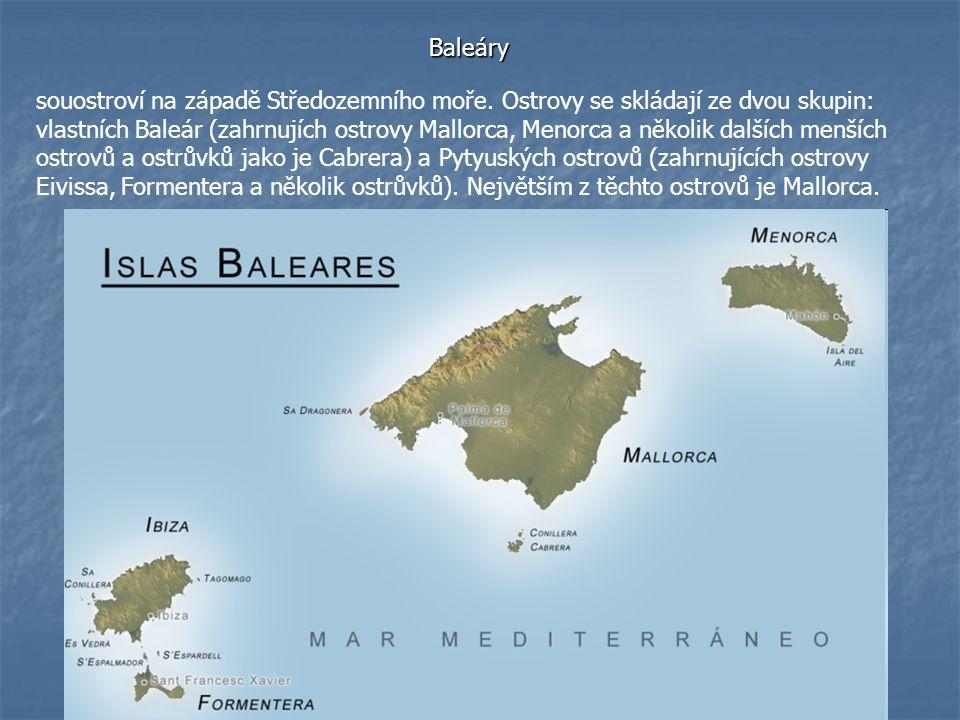 Baleáry souostroví na západě Středozemního moře. Ostrovy se skládají ze dvou skupin: vlastních Baleár (zahrnujích ostrovy Mallorca, Menorca a několik